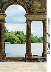 castillo, jardines, viejo, arcos, hever
