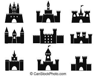 castillo, negro, iconos