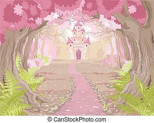 castillo, paisaje, magia