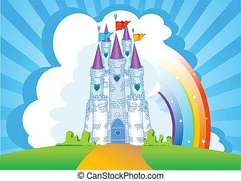 castillo, tarjeta, invitación, magia