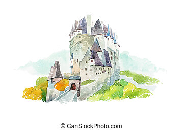 Castle Eltz en Alemania los famosos monumentos viajan y el turismo ilustración waercolor