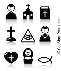 católico, iglesia, religión, iconos