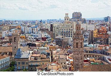catedral, cubierta de observación, histórico, valencia, vista, españa, centro
