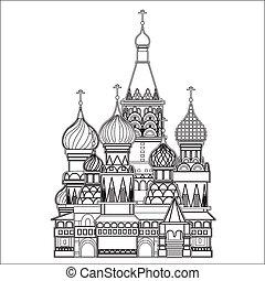 Catedral de la albahaca, Moscú, vector
