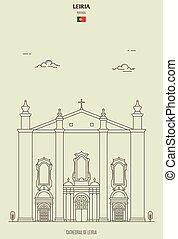 catedral, señal, leiria, portugal., icono