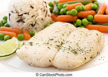 Catfish con verduras y arroz