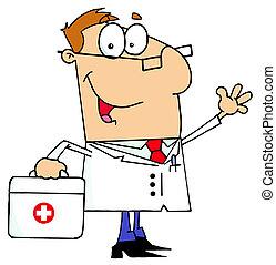 caucásico, caricatura, doctor, hombre