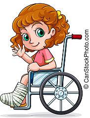 caucásico, sílla de ruedas, niña, sentado