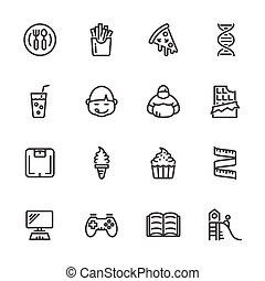 Causas de obesidad infantil, iconos de línea vector fijados