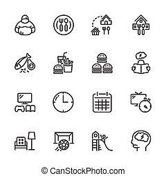 Causas y prevención de obesidad infantil, iconos de línea vector fijados