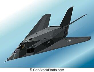 cautela, vuelo, luchador, f-117