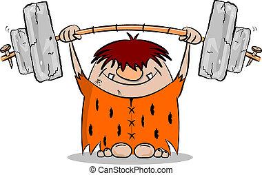 cavernícola, peso, caricatura, elevación