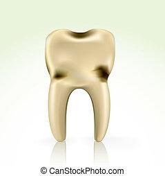 cavidad, malsano, amarillo, diente