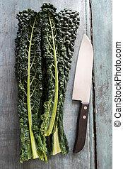 cavolo, hojas, arriba, nero, cuchillo, vista
