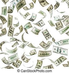 Cayendo dinero, billetes de cien dólares