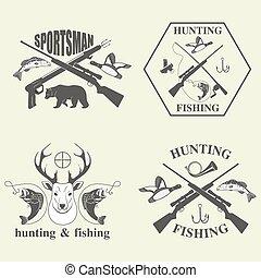 caza, conjunto, pesca, vendimia