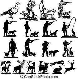 caza, siluetas, colección