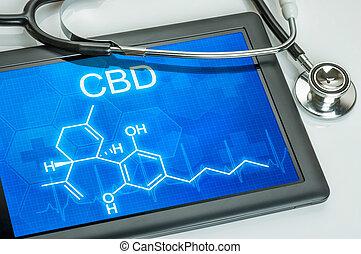 cbd, tableta, químico, fórmula