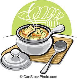 cebolla, cuscurros, sopa, francés