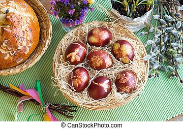 cebolla, patrón, huevos, teñido, cáscaras, hierbas, fresco, pascua