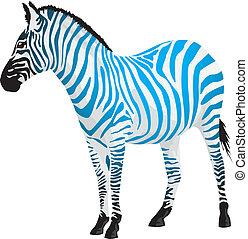 Cebra con rayas de color azul.