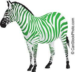 Cebra con rayas de color verde.