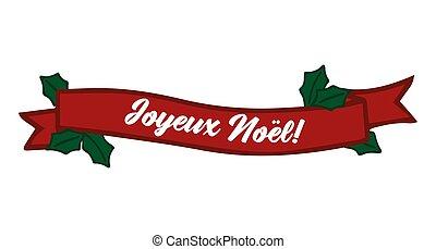 celebración, cita, letras, noel, joyeux, translated, o, invitation., cartel, logotipo, francés, tarjeta, alegre, cinta, header., navidad.