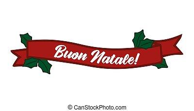 celebración, cita, letras, translated, o, invitation., cartel, logotipo, tarjeta, buon, italiano, alegre, cinta, header., navidad., natale