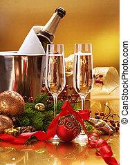 Celebración de año nuevo. Champán