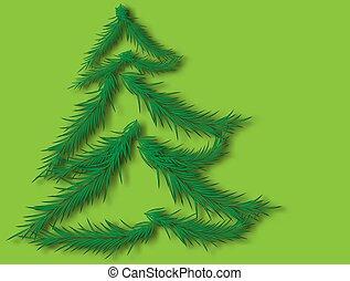 celebración, hermoso, navidad, ilustración, 2020, año, vector, árbol., design.