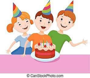 Celebrando el cumpleaños lindo chico de dibujos animados
