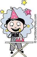 Celebrando la fiesta de cumpleaños, ilustración de vectores de vectores retro reparador de dibujos animados