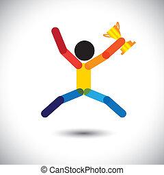 celebrar, colorido, icono, persona, vector, winning.