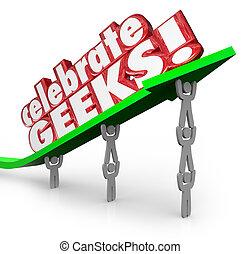 Celebrar geeks personas nerds levantando palabras de flecha