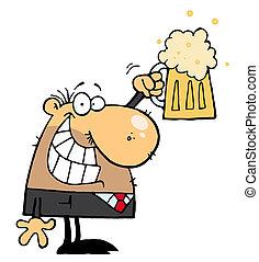 celebrar, hombre, cerveza, pinta