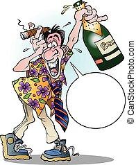 celebrar, loco, hombre, balloo
