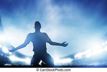 celebrar, meta, fútbol, jugador, victoria, match., futbol