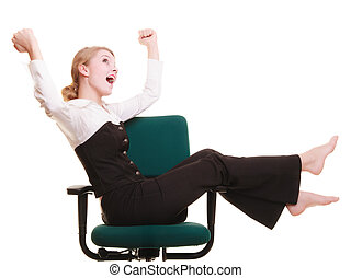 celebrar, mujer de negocios, success., promotion.