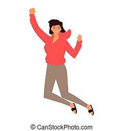 celebrar, saltar, mujer, fondo blanco, joven