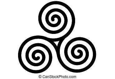 celta, triskele, espiral, triple, o