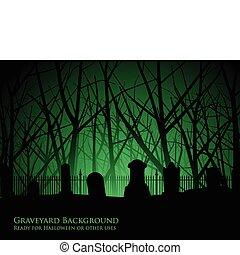 cementerio, árboles, plano de fondo