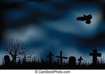 cementerio, cementerios, o, noche