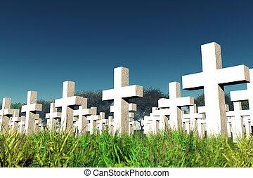 cementerio, militar, cielo, debajo