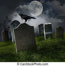 cementerio, viejo, lápidas, luna