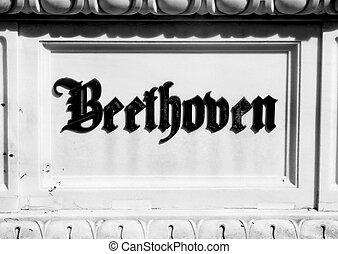 cemeter, inscripción, beethoven's, lápida, tumba