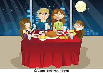 cena, comida, familia