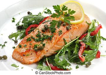 Cena de salmón