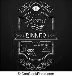 Cena en el menú del restaurante.