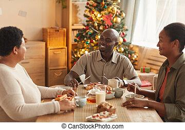 cena, navidad, africano, familia , el gozar