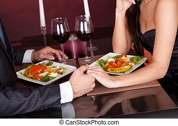 cena, pareja, romántico, restaurante